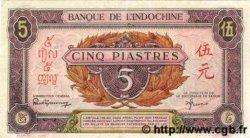 5 Piastres rose, violet INDOCHINE FRANÇAISE  1945 P.064