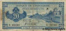 20 Piastres bleu INDOCHINE FRANÇAISE  1943 P.065