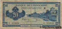 20 Piastres bleu INDOCHINE FRANÇAISE  1943 P.065 TB+