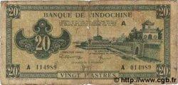 20 Piastres vert INDOCHINE FRANÇAISE  1944 P.070 AB
