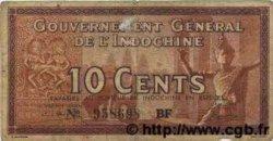 10 Cents INDOCHINE FRANÇAISE  1939 P.085c TB