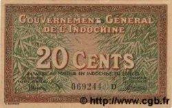20 Cents INDOCHINE FRANÇAISE  1939 P.086a TTB+