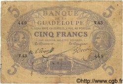 5 Francs GUADELOUPE  1874 P.07 B+ à TB