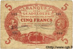 5 Francs Cabasson rouge GUADELOUPE  1922 P.07 B+