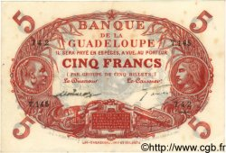 5 Francs Cabasson rouge GUADELOUPE  1944 P.07 pr.SUP
