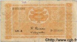 5 Markkaa FINLANDE  1945 P.076a B+