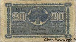 20 Markkaa FINLANDE  1945 P.086 B+
