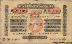 5 Rupees INDE  1922 P.A06h TB+