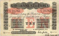 10 Rupees INDE Calcutta 1918 P.A10f TB+