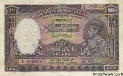 1000 Rupees INDE Bombay 1937 P.021a TB à TTB