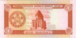 1 Manat TURKMÉNISTAN  1993 P.01