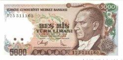 5000 Lira TURQUIE  1992 P.198 NEUF
