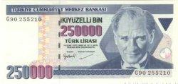 250000  Lirasi TURQUIE  1998 P.211 NEUF