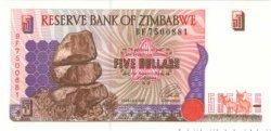 5 Dollars ZIMBABWE  1997 P.05 NEUF