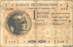 1 Roupie / Rupee INDE FRANÇAISE  1945 P.004d B+