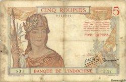 5 Roupies INDE FRANÇAISE  1945 P.005bs B+