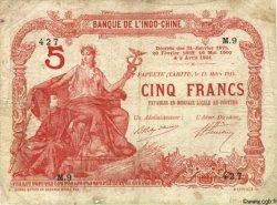 5 Francs TAHITI  1914 P.01b var B+