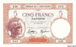 5 Francs TAHITI  1940 P.11cs NEUF