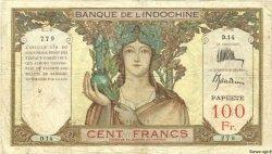 100 Francs TAHITI  1936 P.14a TB
