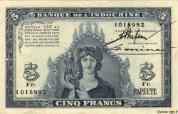 5 Francs TAHITI  1944 P.19a TTB+
