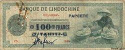 100 Francs TAHITI  1943 P.17b B+