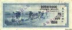 1000 Francs TAHITI  1943 P.18bs TTB