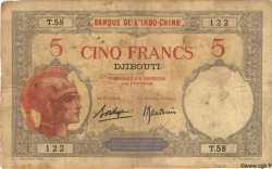 5 Francs DJIBOUTI  1936 P.06b B+