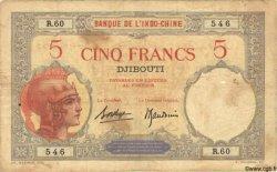 """5 Francs """"Walhain"""" DJIBOUTI  1936 P.06b TB"""