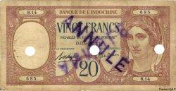20 Francs au paon DJIBOUTI  1936 P.07 B à TB