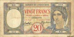 20 Francs au paon DJIBOUTI  1936 P.07A