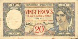 20 Francs au paon DJIBOUTI  1936 P.07A TB