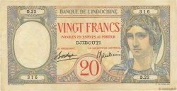 20 Francs au paon DJIBOUTI  1936 P.07A TTB