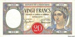 20 Francs au paon DJIBOUTI  1947 P.07Bs SUP+