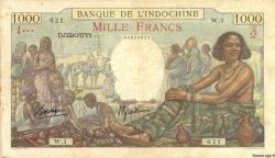 1000 Francs DJIBOUTI  1938 P.10 TTB