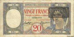 20 Francs au paon BIC Djibouti DJIBOUTI  1943 P.12A TTB+ à SUP