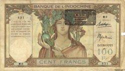 100 Francs type 1931 BIC Djibouti DJIBOUTI  1943 P.13A TB