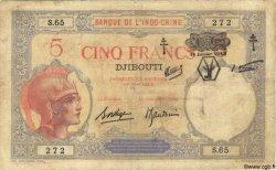 "5 Francs ""Walhain"" surchargé FC DJIBOUTI  1943 P.11 B+"