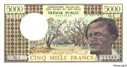 5000 Francs AFARS ET ISSAS  1975 P.35 SPL