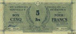 5 Francs NOUVELLES HÉBRIDES  1943 P.01 SUP+