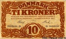 10 Kroner DANEMARK  1917 P.021g TB+