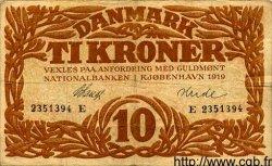 10 Kroner DANEMARK  1919 P.021h TB