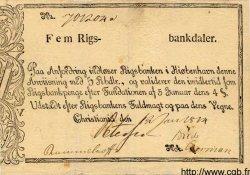 5 Rigsbankdaler NORVÈGE  1814 P.A13 TTB