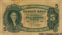5 Kroner NORVÈGE  1916 P.07b TB