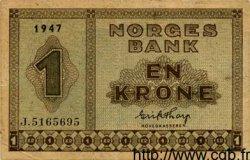 1 Krone NORVÈGE  1947 P.15b TTB+