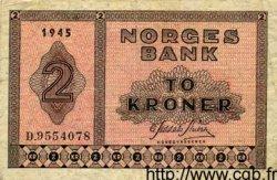2 Kroner NORVÈGE  1945 P.16a TTB