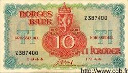 10 Kroner NORVÈGE  1944 P.20b SUP