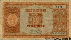 10 Kroner NORVÈGE  1945 P.26a TB
