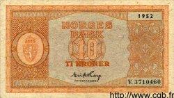 10 Kroner NORVÈGE  1952 P.26b TTB