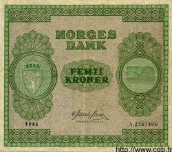 50 Kroner NORVÈGE  1945 P.27a TTB