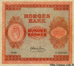 100 Kroner NORVÈGE  1945 P.28a TTB+